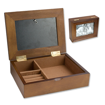 1499 Wooden Jewelry Box With 4x6 Glass Display Photo Frame