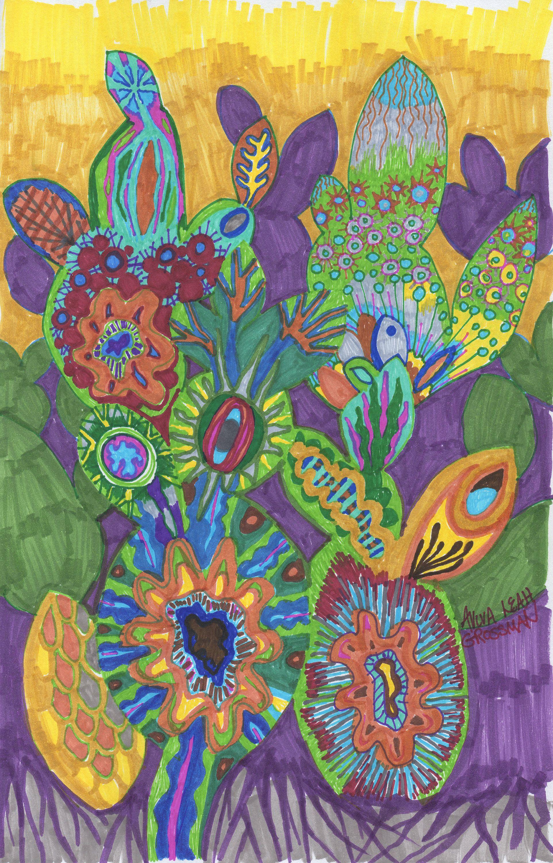 Succulent Medley Original Marker Drawing Succulents Plants
