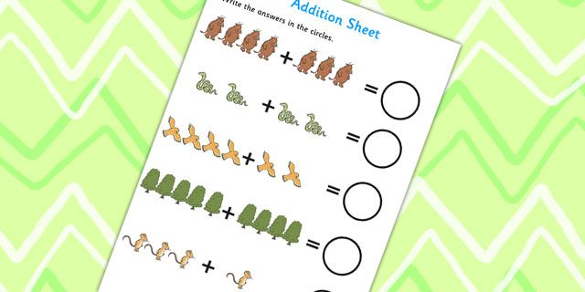 Twinkl Resources The Gruffalo Addition Sheet Printable