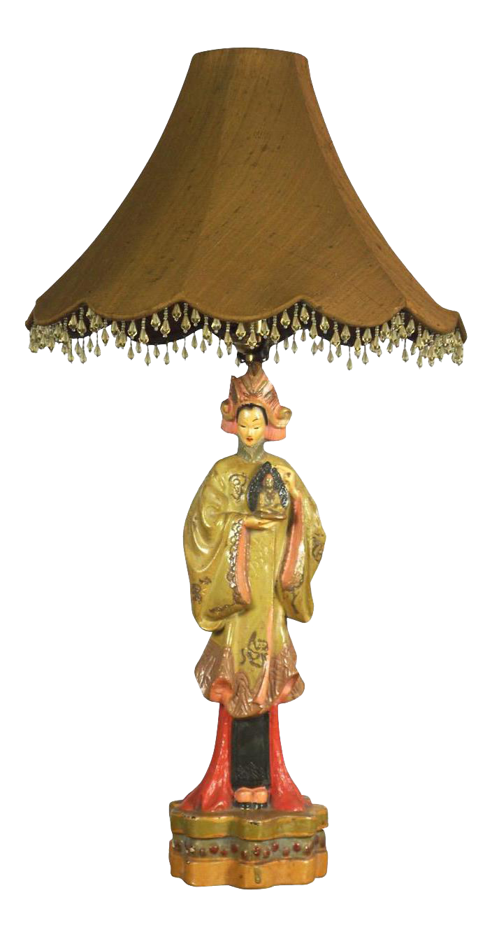 Vintage Asian Lady Figural Table Lamp Circa 1940s On Chairish Com Lamp Table Lamp Asian Lamps