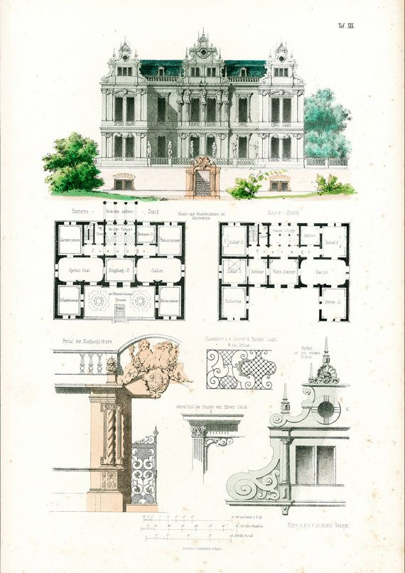 1854 Chateau Style Louis Xiv Plans D Architecte Format A3 Gravure Ancienne Esquisse Dessin Plan Details Architectur Vintage House Plans House Plans How To Plan