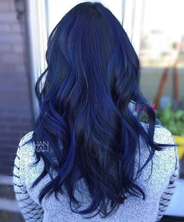 Blue Sapphire Balayage Fancyfollicles Hair Color For Black