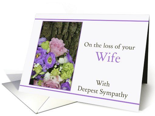 Sympathy Loss of your Wife - Purple bouquet card