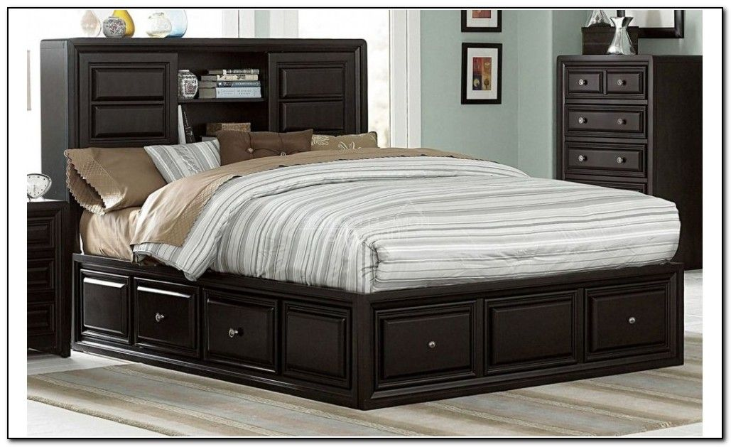 Gorgeous King Size Storage Bed With Bookcase Headboard King Beds