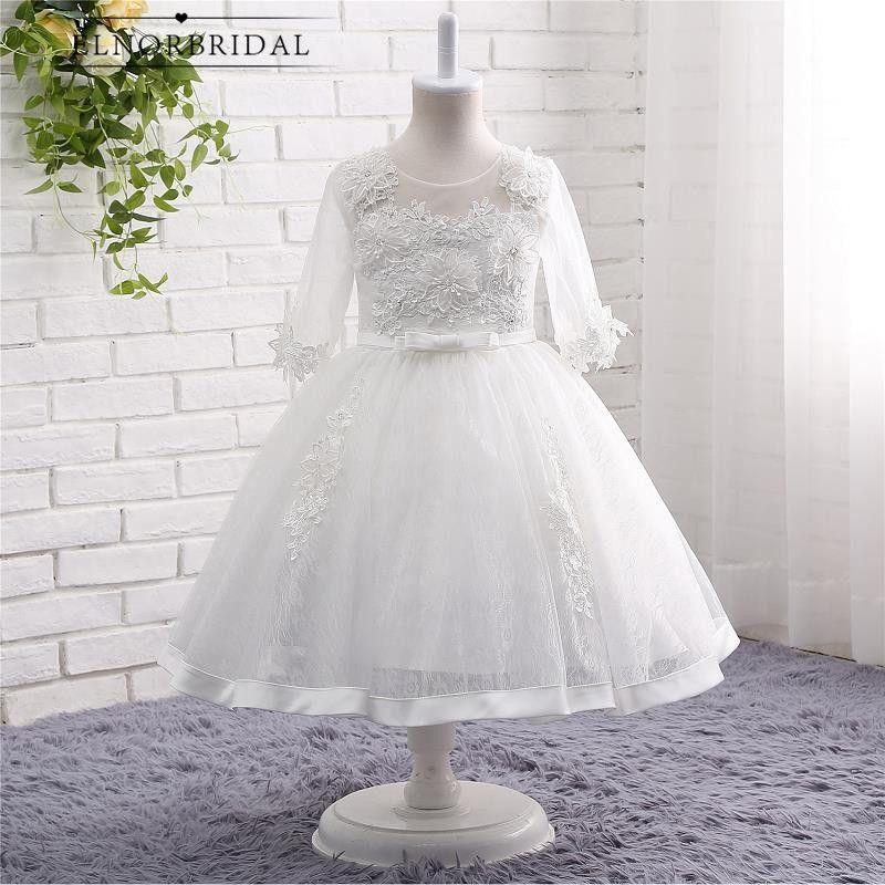 White Ivory Flower Girl Dresses Floor Length 2017 Vestido De Daminha Long  Sleeves Kids Evening Gowns 16b45560bd23