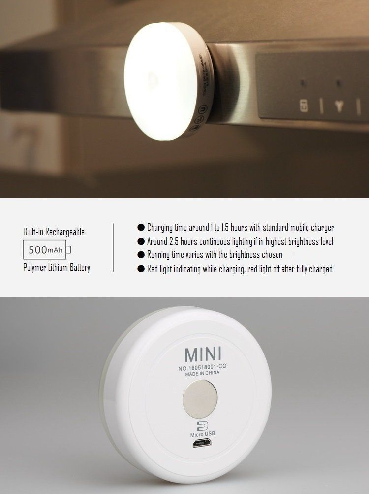 Rtsu Rechargeable Mini Touch Light Dimmable Magnetic Stick On Tap Push Novelty Light Led Nightlight Led Night Light Battery Operated Closet Lights Lamp Light
