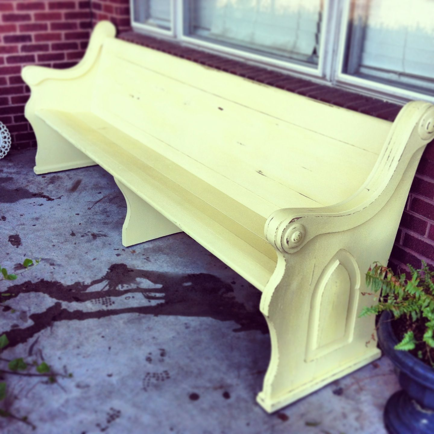 Yellow Chalk Paint Church Pew