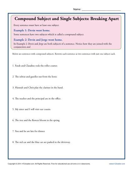Compound Subject And Single Subjects Breaking Apart Compound Subject Subject And Predicate Subject And Predicate Worksheets Complete and simple subjects worksheets