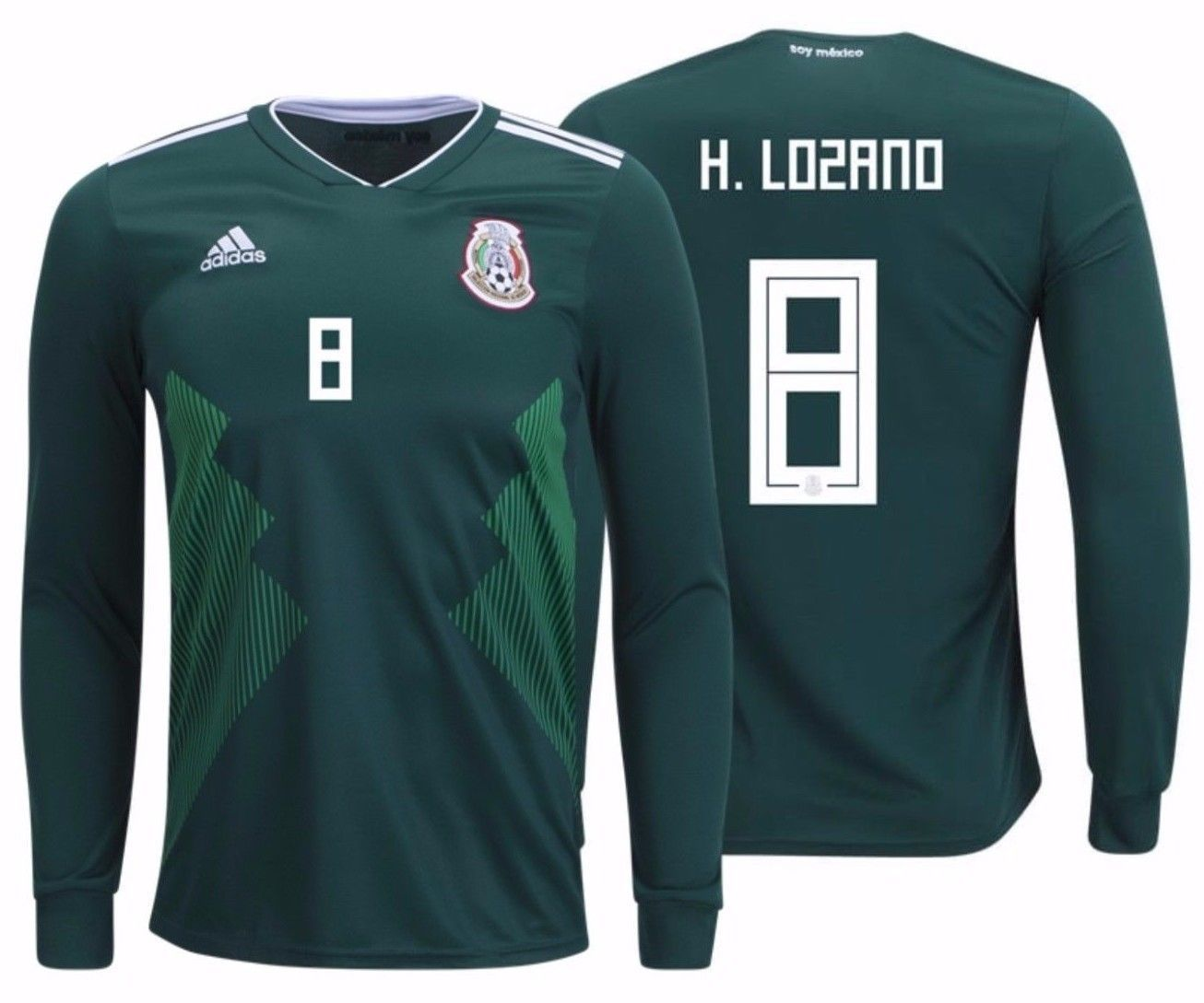 d7efffcab0c ADIDAS HIRVING LOZANO MEXICO LONG SLEEVE HOME JERSEY FIFA WORLD CUP 2018.