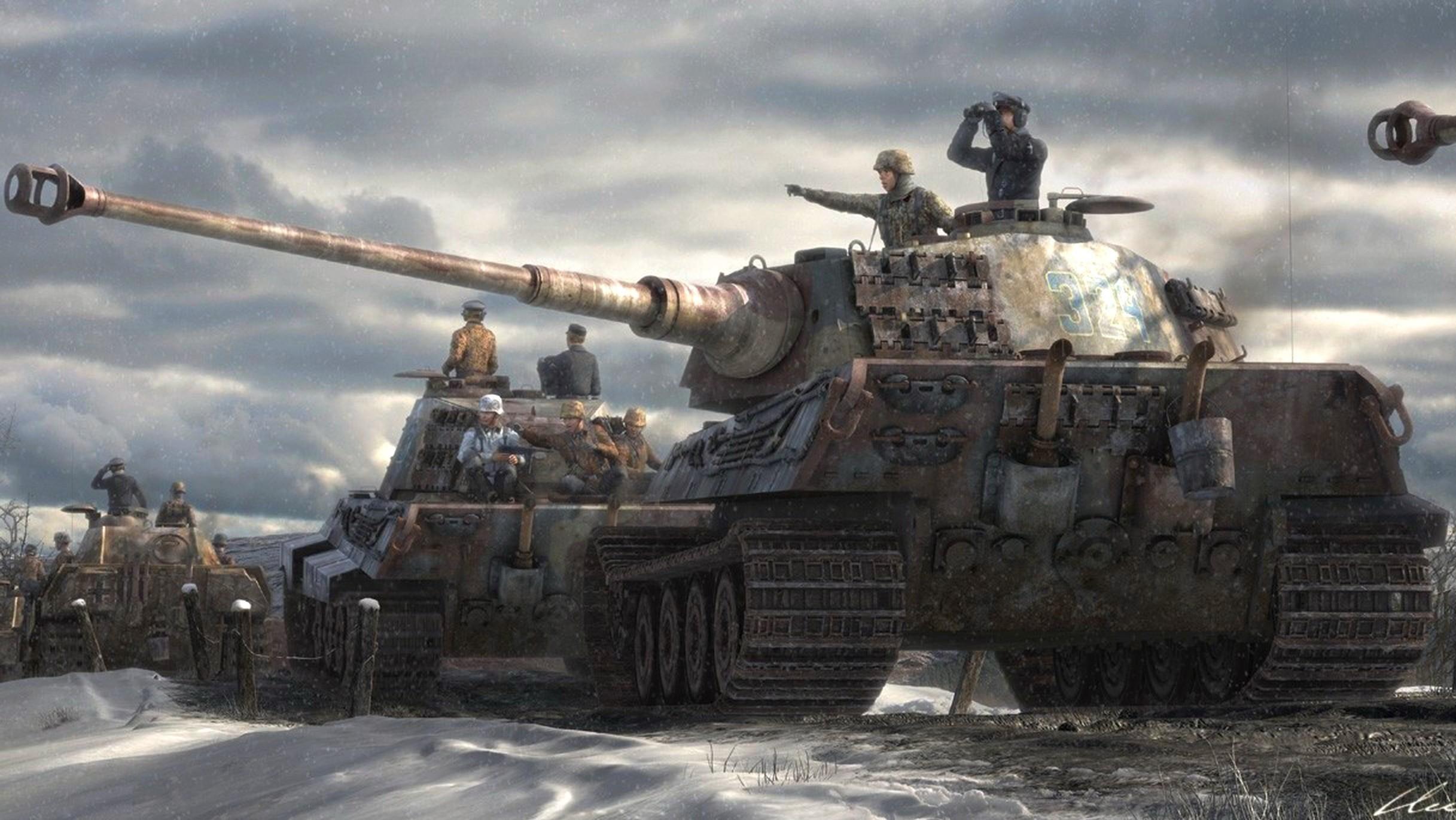 Grupo De Tiger Ii Dibujos Y Pinturas Militares