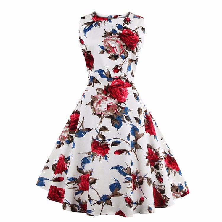 Kenancy Fashion New 4XL Plus Size 2 Colors Rose Floral Print Vintage ...