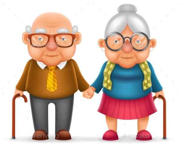 Image result for CARTOON OLD CHINESE COUPLE WALKING