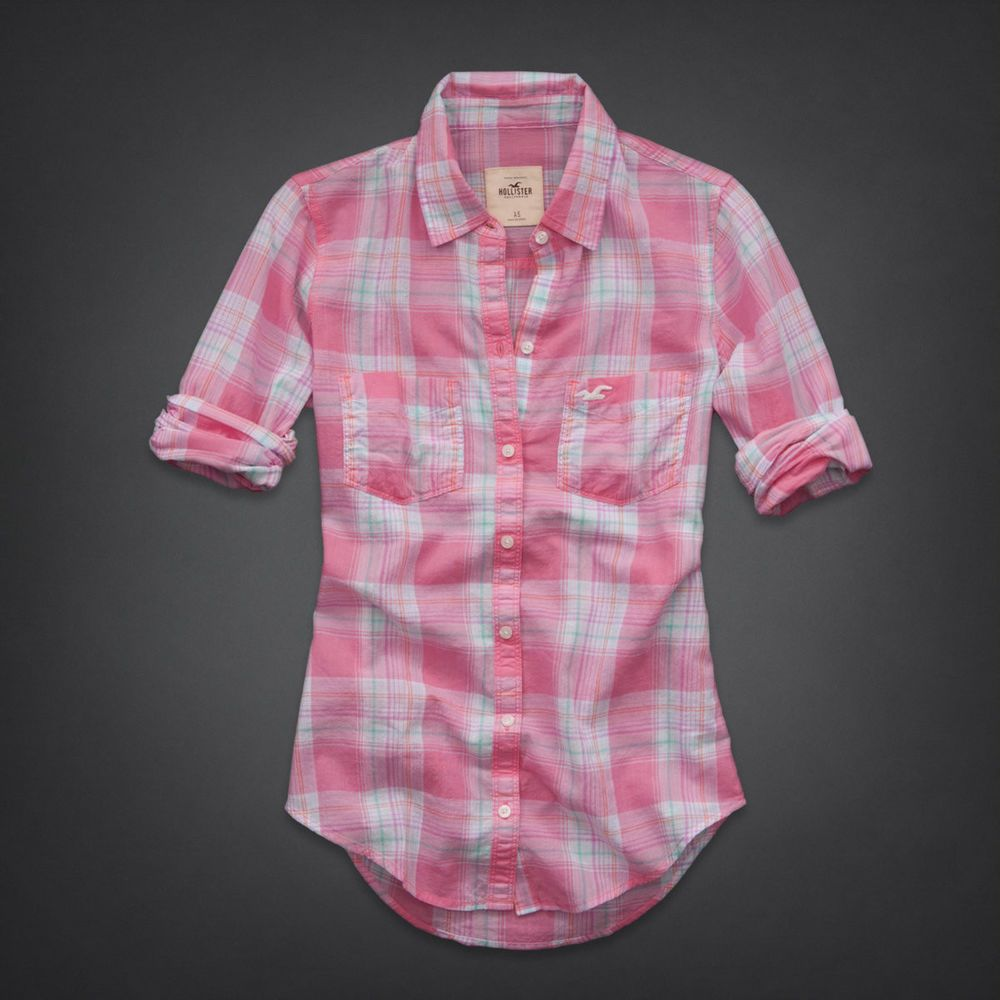 Hollister! New Womens Light Pink Green Plaid Button-Down Shirt Top ...