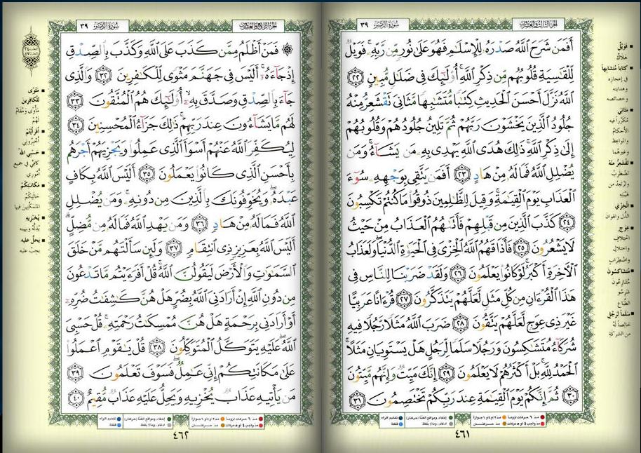 صفحه 461 462 القرآن المصور الجزء الثالث و العشرون والجزء الرابع و العشرون سوره الزمر Bullet Journal Notebook Journal