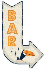 Retro Vintage Metal Bar Sign with Toucan #vintagevectors #vectors #vintage #retro #graphics #graphicdesign #design #fotolia