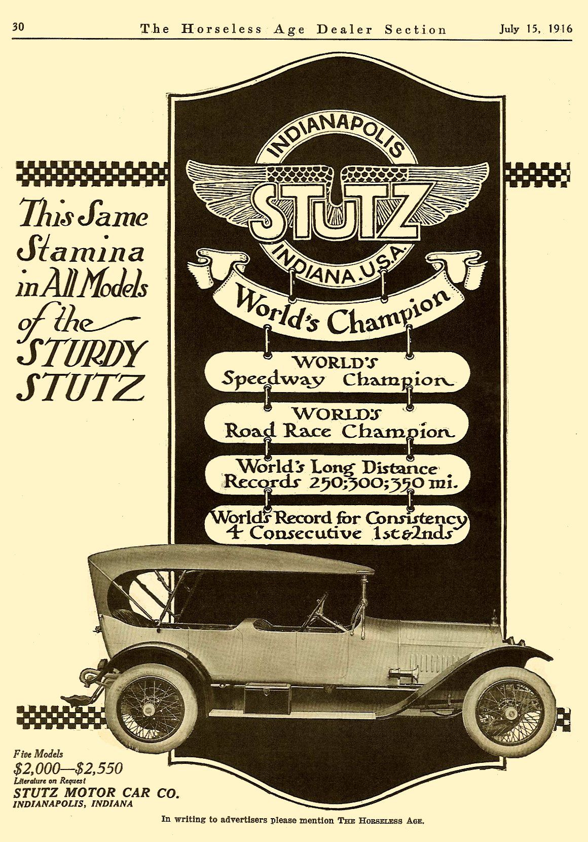 A 1916 ad for the Stutz Motor Car Company, one of more than sixty ...