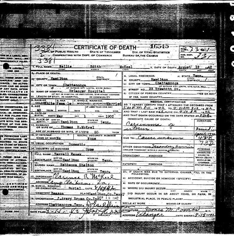 Nellie Edith Essex Mckeel Death Record Genealogy Pinterest
