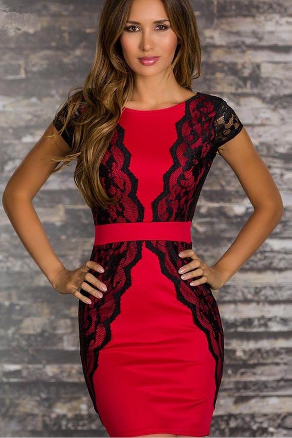 Black+Red+V+Back+Lace+Overlay+Party+Dress+#Black+#Dress+#maykool