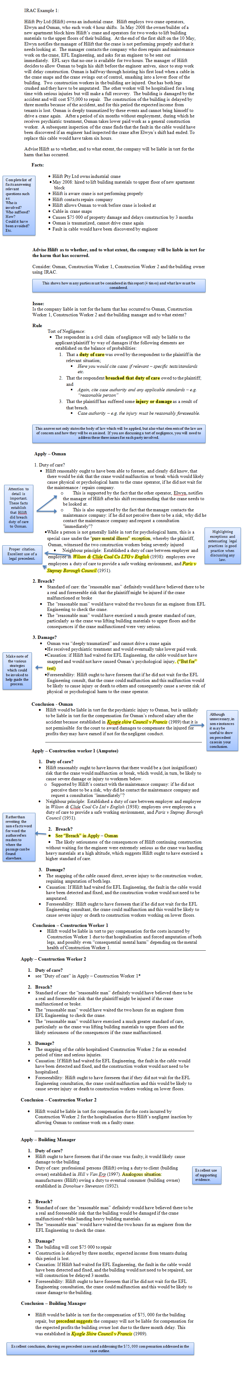 Irac Guide Uwa Example 2 Exam Prep And Template For Answering Legal Problem Qs In Exams Studying Law Law School Exam Prep
