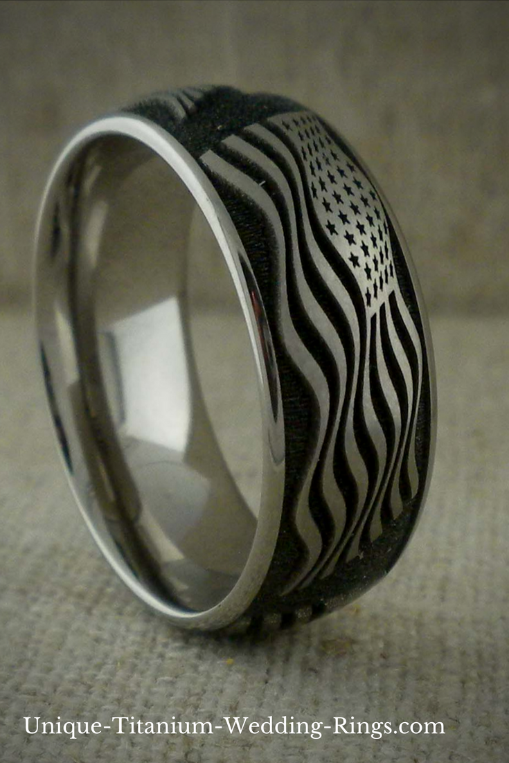 Patriotic Domed Profile Anium Wedding Ring Featuring The American Flag Waving In Wind Design