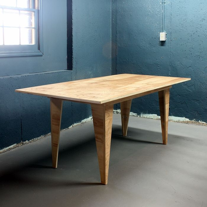 Diy modern birch table from one sheet of plywood for Table design for project
