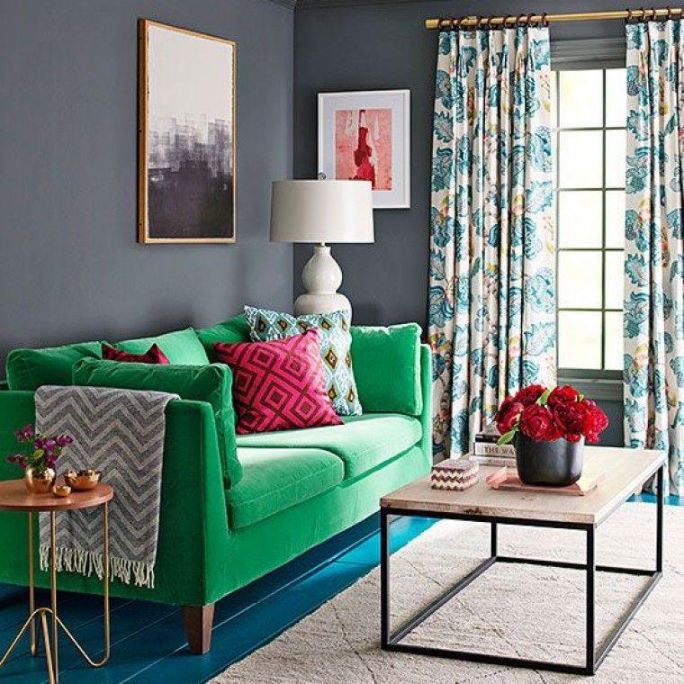 Green sofa dark contemporary living room sophie robinson