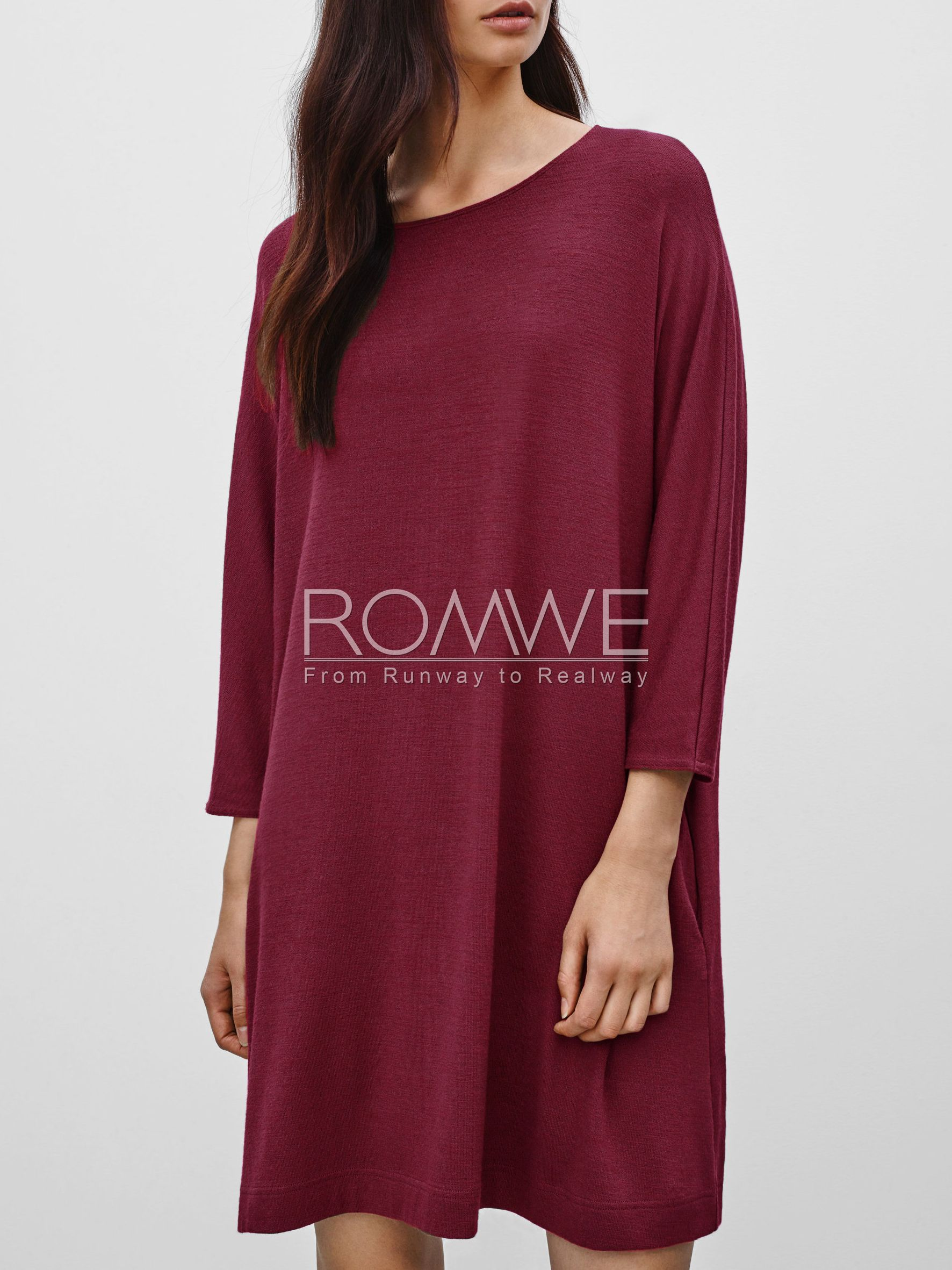 Wine Red Long Sleeve Casual Dress 21.99