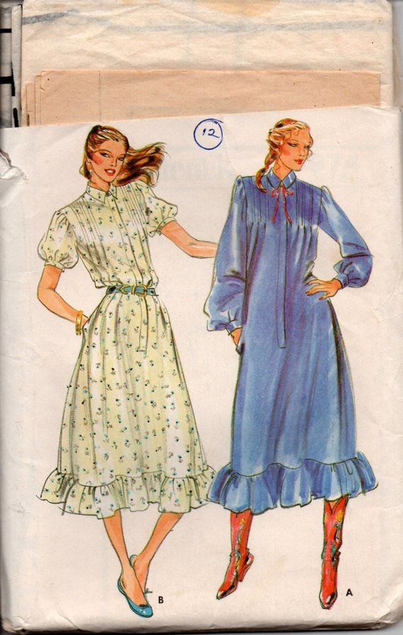 c386c954b92 Butterick 6974 Womens Ruffled Puff Sleeve Shirtdress 80s Vintage Sewing  Pattern Size 12 Bust 34 inch