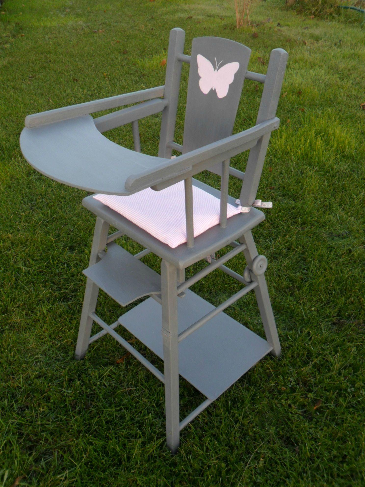 Chaise Haute Ancienne En Bois Pour Poupee Restauree Chaise Haute Jouet Fille Decoration Enfant