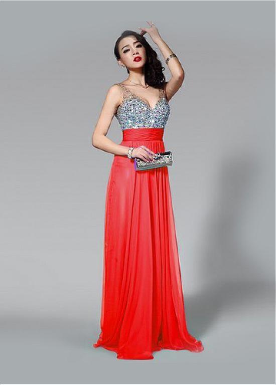 Fabulous Chiffon V-neck Neckline Floor Length A-line Sexy Prom Dress With Beadings