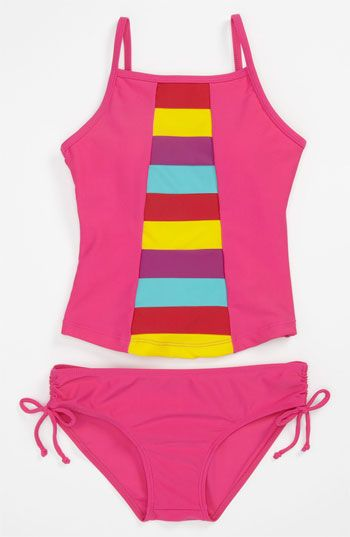 Limeapple Rainbow Tankini Swimsuit (Big Girls) available at #Nordstrom
