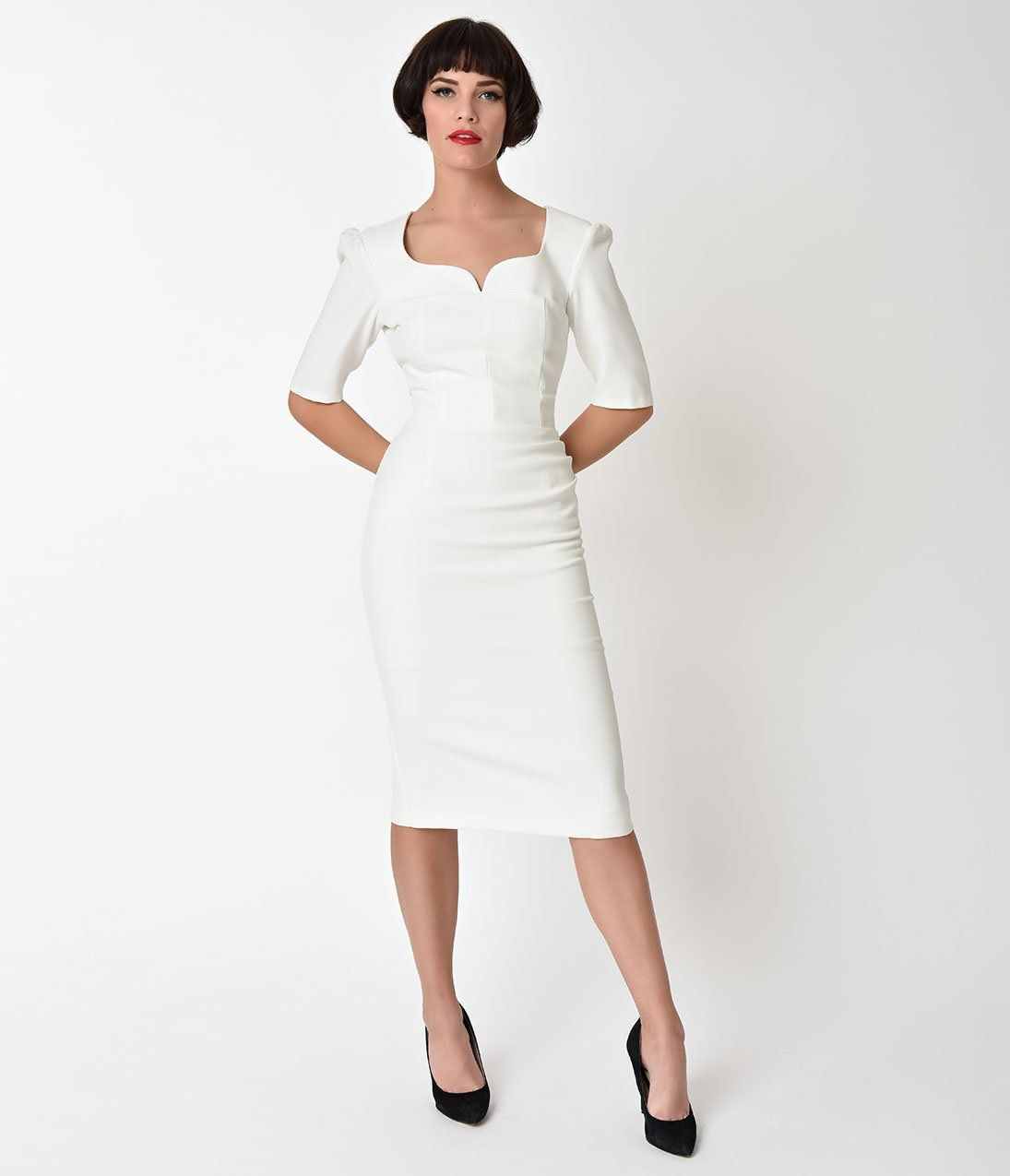 The Pretty Dress Company Ivory Sleeved Charlotte Pencil Unique Vintage Chic Wedding