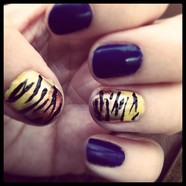 LSU mani- GEAUX TIGERS!! | manis | Pinterest | Tigers, Makeup and ...