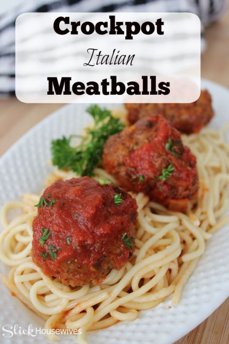 Easy Crockpot Italian Meatball Recipe- These easy to make Crockpot Italian Meatballs are full of flavor and sure to please! You can serve them as an appetizer, main meal with spaghetti or served on a hoagie roll. Anyway you serve it, they are delicious. www.slickhousewives.com
