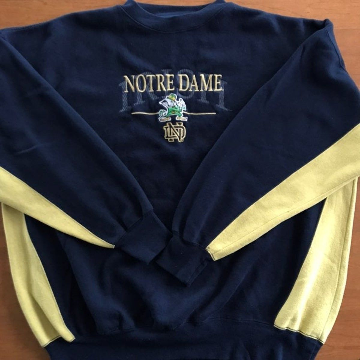 Vintage Notre Dame Crewneck Sweatshirt Vintage Crewneck Sweatshirt Sweatshirts Hoodie Design [ 1200 x 1200 Pixel ]