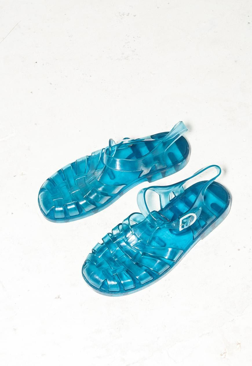 12f59ad721f2 Sheer blue jelly shoes 80s vintage rubber jelly sandals