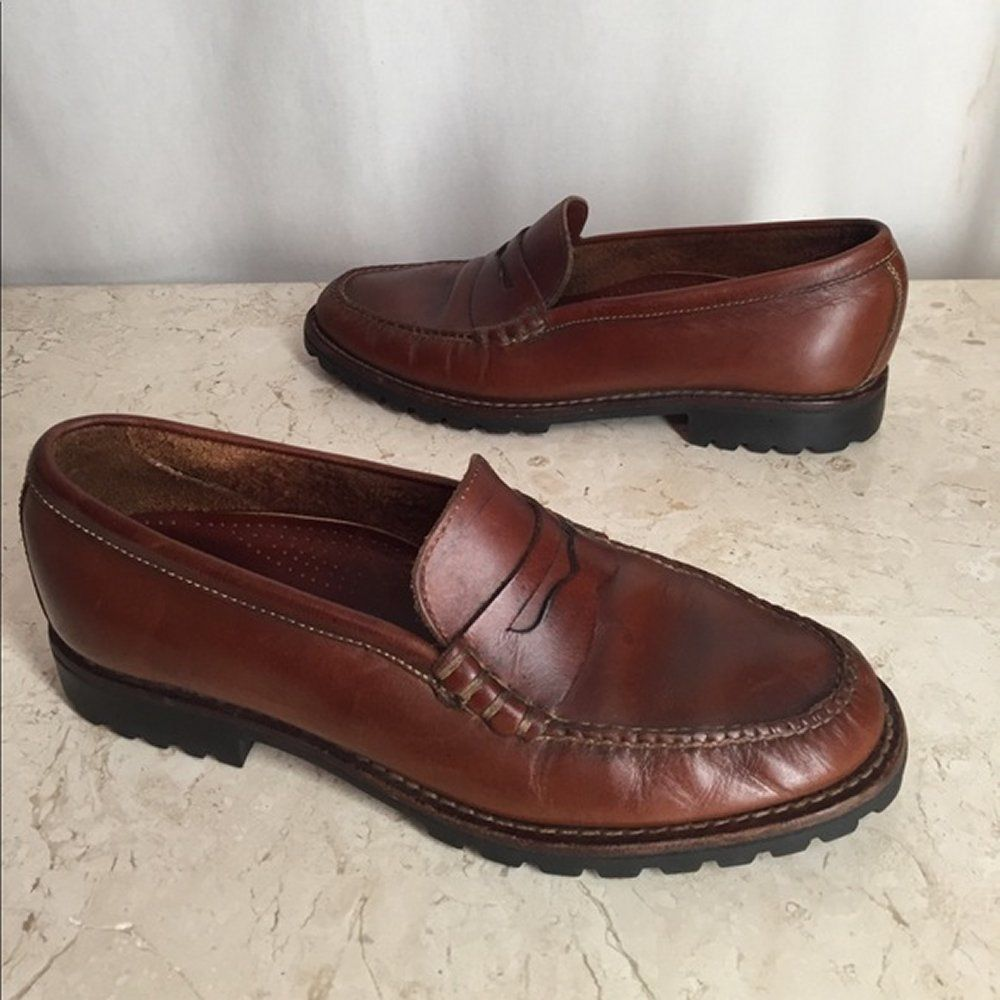 f9a0bbacc75 Cole Haan Penny Loafers 9.5 AA Brown Leather Shoes Non Slip Lug Soles   ColeHaan  Loafers  Casual