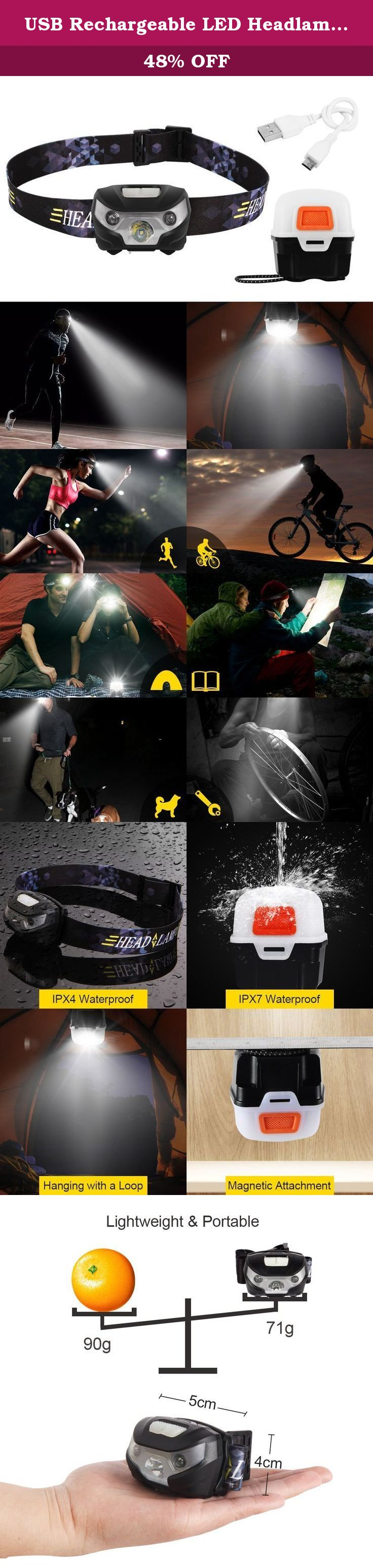 USB Rechargeable LED Headlamp Flashlight, White and Red Light Switches, 5 Modes/180 Lumens, Waterproof(IPX4), Magnetic Lantern Box and USB Cable Included, for Camping, Hiking, Running, DIY. Be your Patron God and accompany you on a trip to a whole new world at night With the company of CS Force headlamp, nightfall is no longer the end of outdoor activities. The lightweight headlamp could set your hands free and be adjusted(up to 60 degrees) to illuminate your road in the dark…