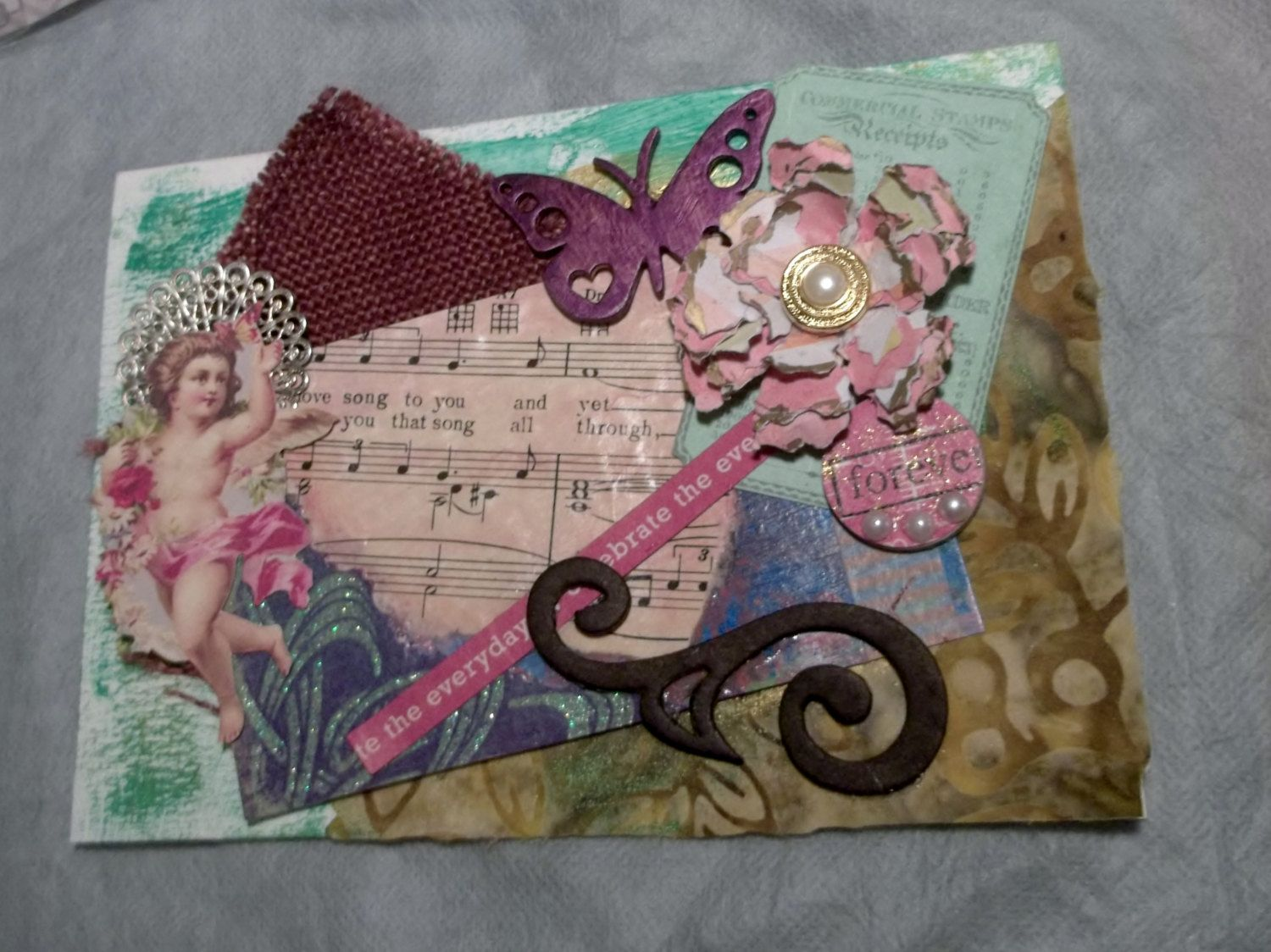 Handmade greeting card collage mixed media cherub handmade handmade greeting card collage mixed media cherub handmade flower love song kristyandbryce Image collections