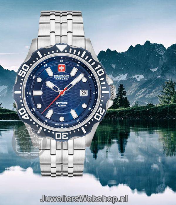Swiss Military Hanowa horloge 06-5306.04.003 Patrol heren Staal met Blauwe  Wijzerplaat. 48889f6d5a