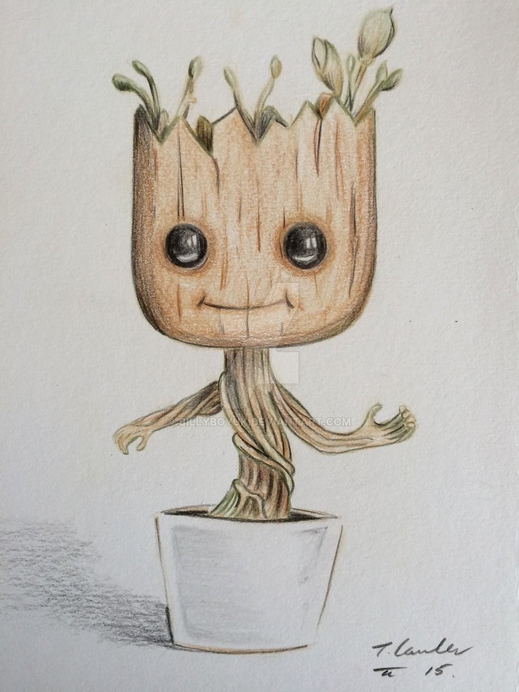 Dancing baby groot colour pencil drawing by billyboyuk on for Pencil sketch ideas