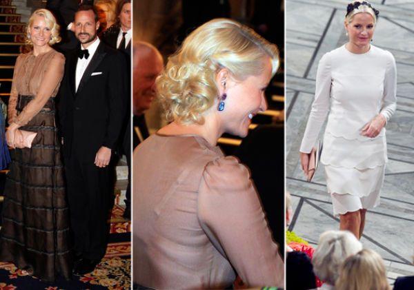 KJOLEDEBATT: Det ble stor debatt rundt Mette-Marits Nobel-garderobe i 2011. Til feiringene stilte hun i to splitter nye Valentino-antrekk. Bankettkjolen hadde en utsalgspris på rundt 70.000, mens den lille hvite koster rundt 15.000 kroner. Foto: NTB Scanpix