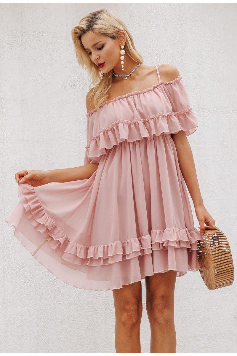 Elegant Ruffle Off Shoulder Spaghetti Strap Chiffon Female Pink Short Sundress #shortsundress
