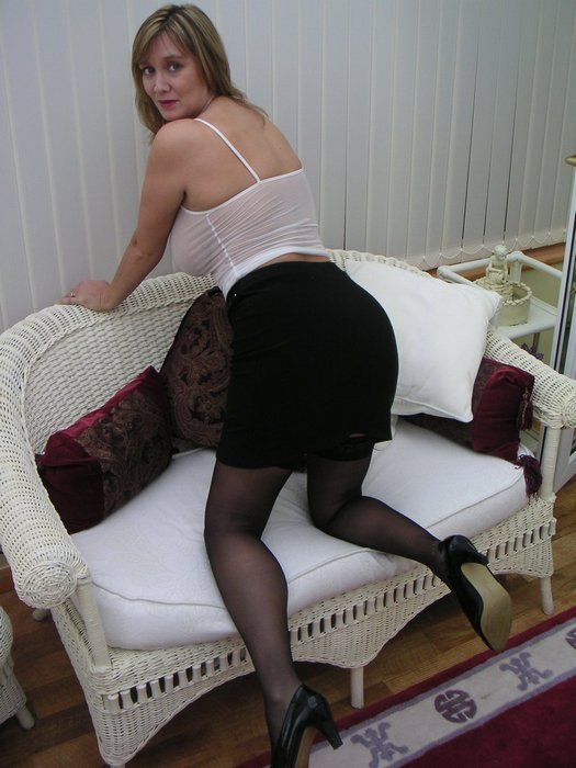 Busty British Wife In Black Skirt And Stockings