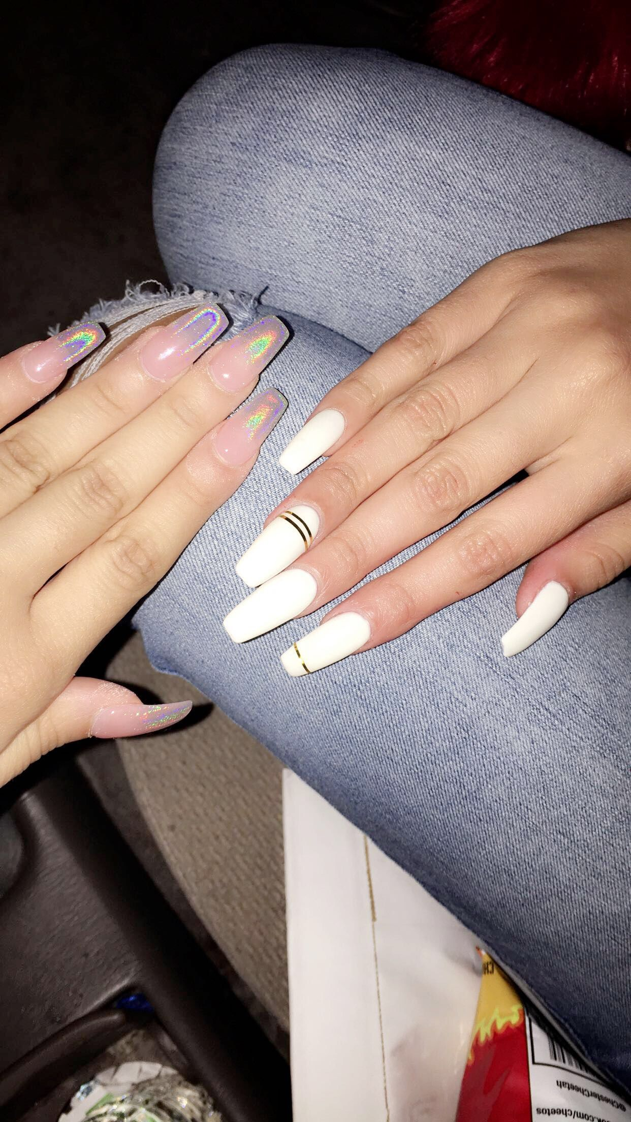 Holographic Ombre Nails And White Long Coffin Shape Nails Pink Holographic Nails Long Acrylic Nails Coffin Coffin Shape Nails