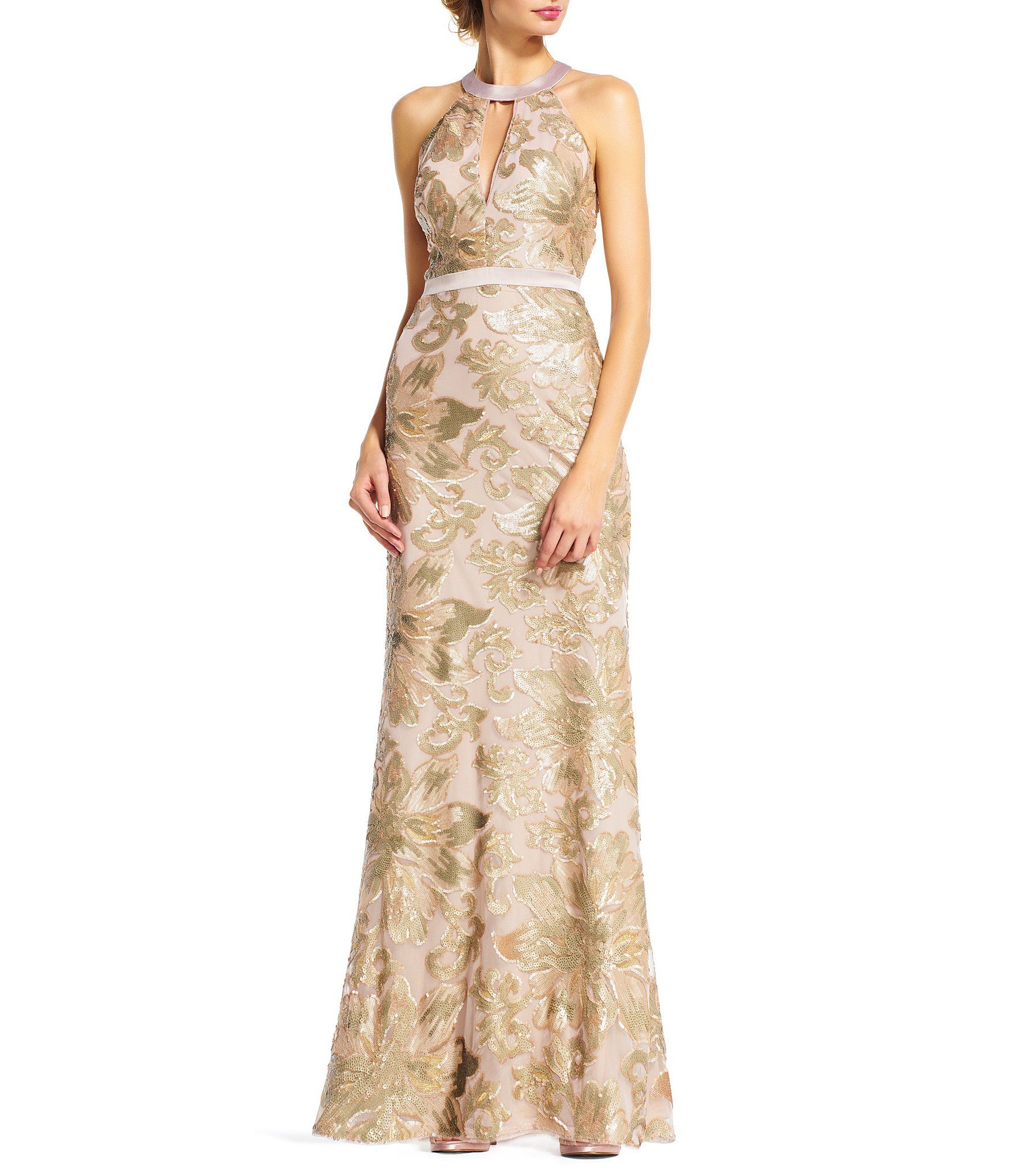 Shop for Adrianna Papell Sequin Halter Mermaid Gown at Dillards.com ...