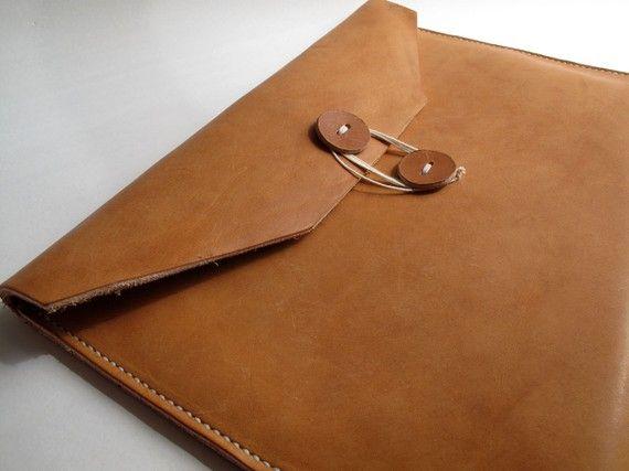 HandStitched camel leather document envelope A4 par - leather resume folder