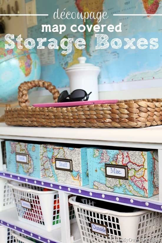 Love this crafty idea!  Map Covered Shelf Organizing Boxes - In My Own Style