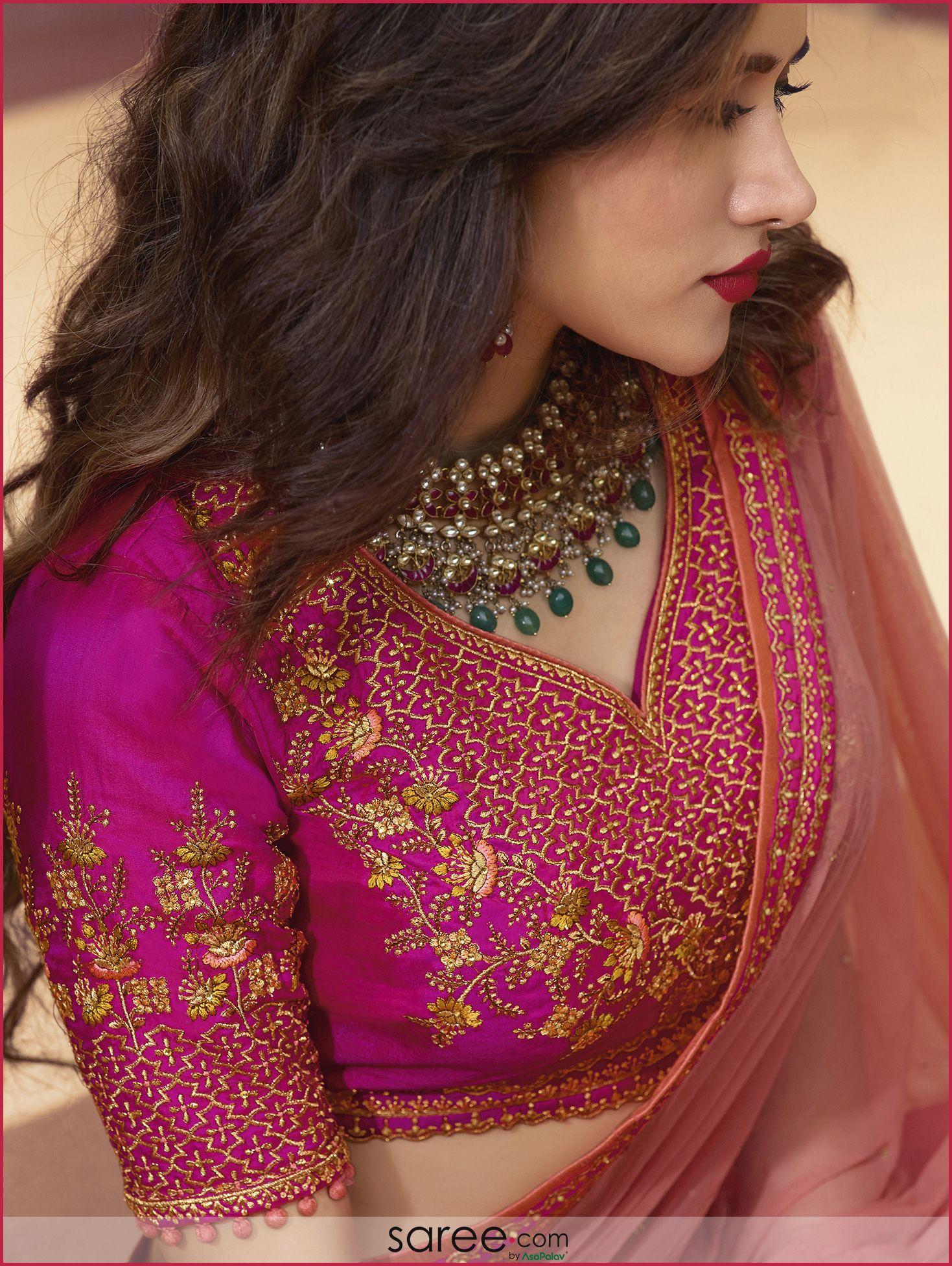 Dark Pink Silk Embroidered Sweetheart Neck Design Blouse ...