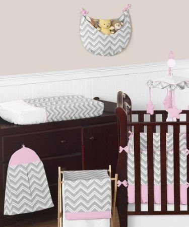 Pink And Gray Chevron Zig Zag Baby Bedding 9pc Crib Set By